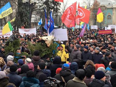 Протест украинских селян под стенами Верховной рады: «Правительство Яценюка -в отставку!»