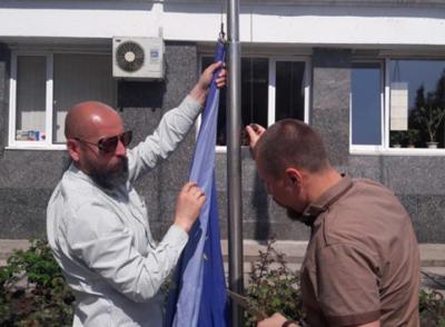 Националисты меняют флаги Евросоюза на бандеровскую символику УПА