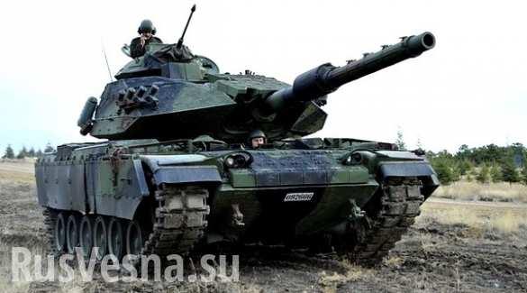 Турецкий танк взорвался на сирийской границе (ВИДЕО)