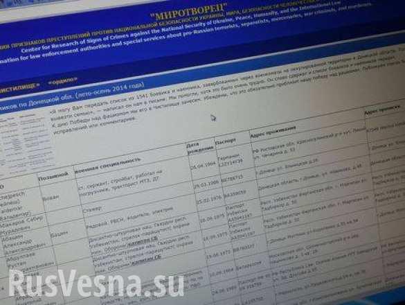 Скандальный сайт «Миротворец» опубликовал новый список журналистов, побывавших в ДНР