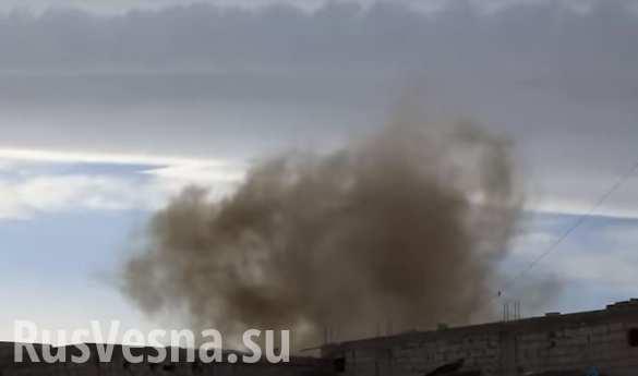 Полет и удар ракеты по позициям боевиков под Дамаском попал на камеру (ВИДЕО)